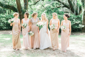 Bridesmaids in Champagne Mismatched Dresses