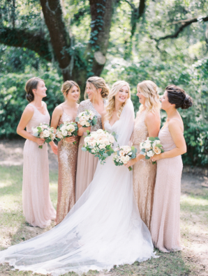 Bridesmaids in Champagne Sequin Dresses