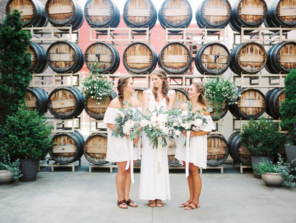 Bridesmaids in Short White Dresses