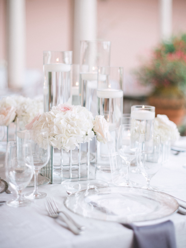 Centerpiece of Glass and Candles