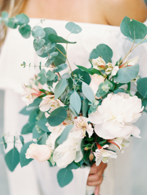 Eucalyptus and White Bloom Bouquet