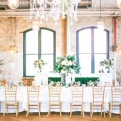 Gold and Green Brick Loft Wedding