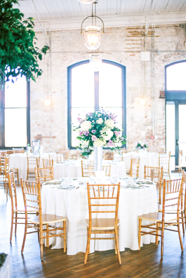 Gold and Green Loft Wedding Reception