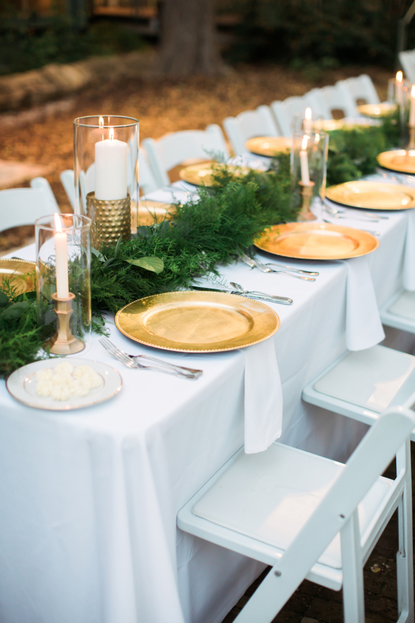 Gold and Green Wedding Table