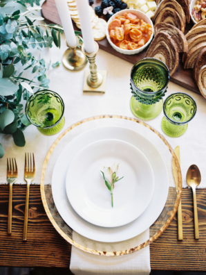 Green and Gold Wood Table Centerpiece