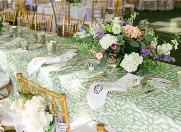 Green and Purple Wedding Centerpiece