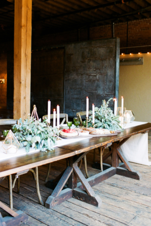 Industrial Wood Table in Winery