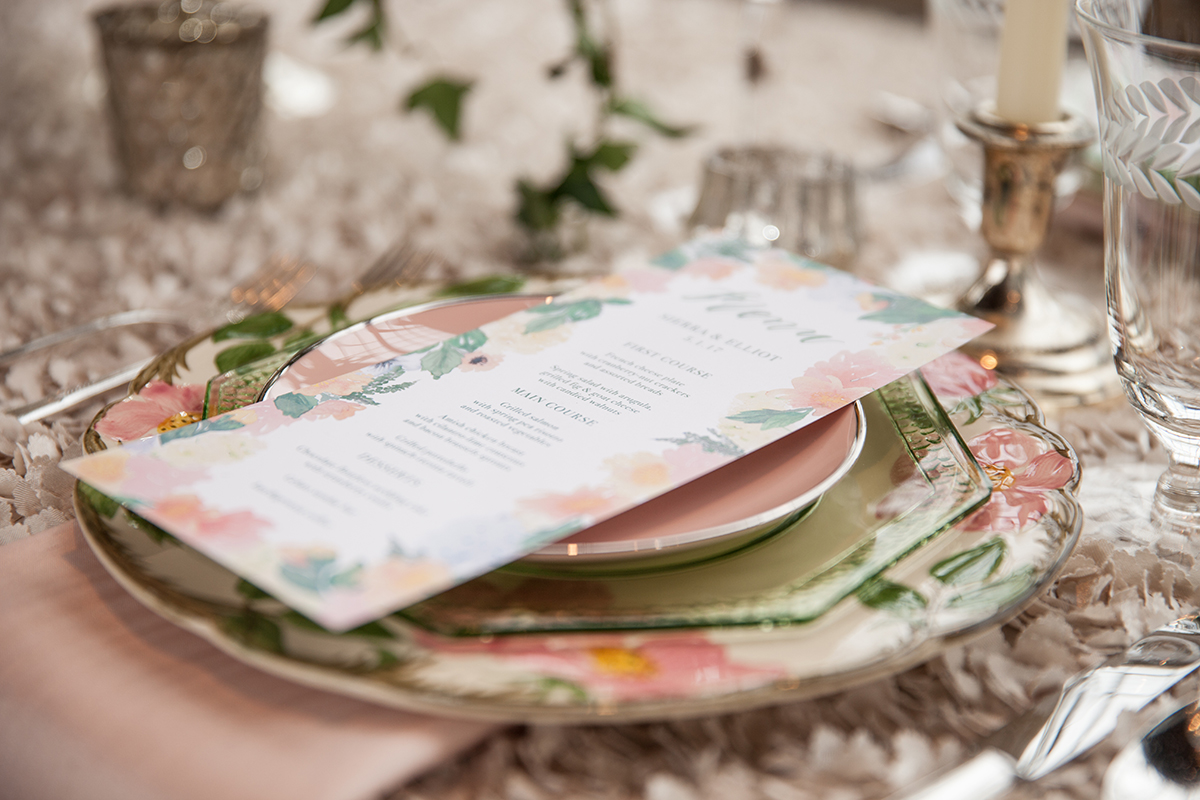 Peach and Green Wedding Table
