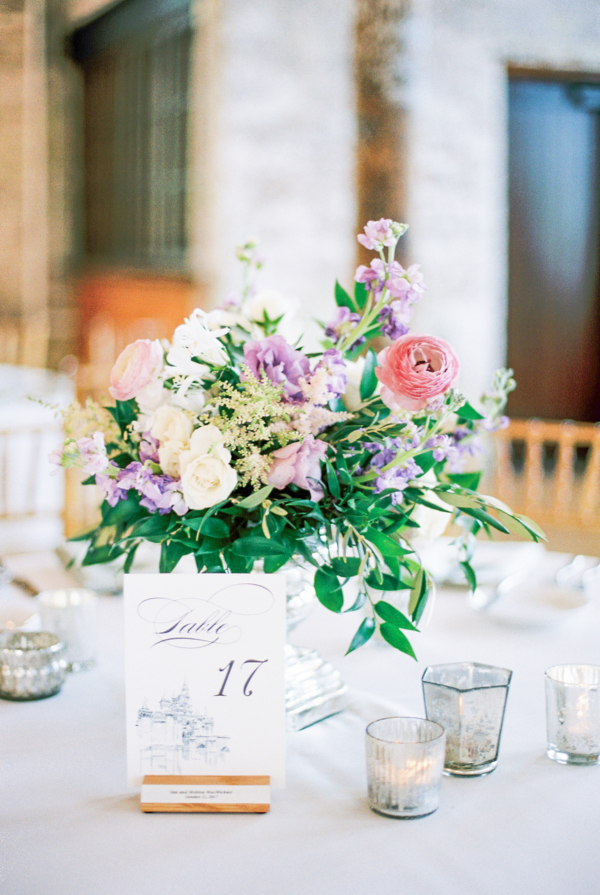 Pink Purple and Green Centerpiece