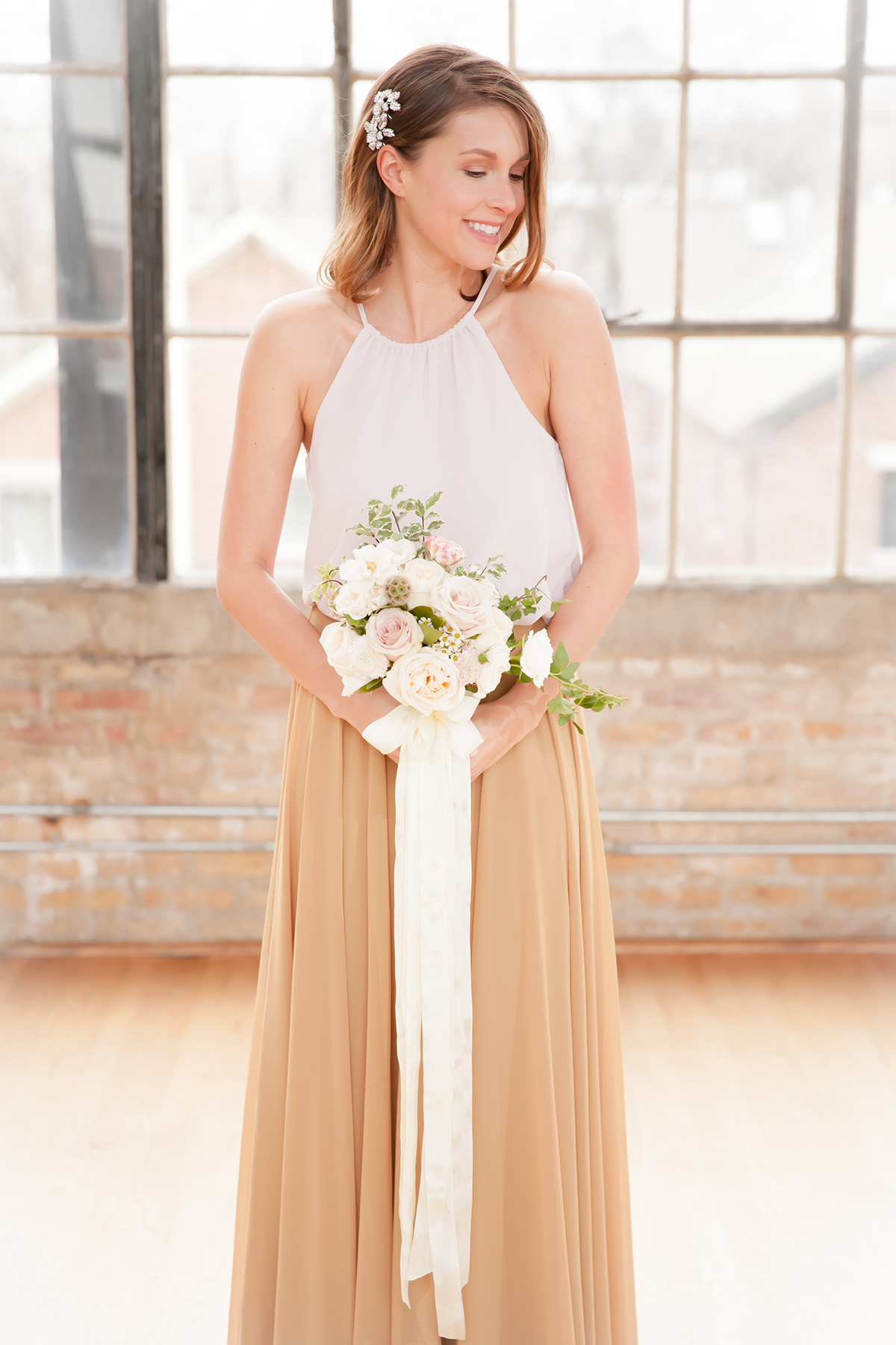 Pink and Chartreuse Bridesmaids Dresses