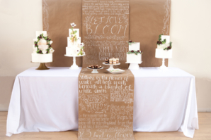 Wedding Cake Table with Calligraphy