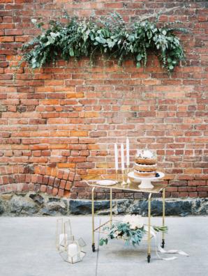 Wedding Cake on Bar Cart