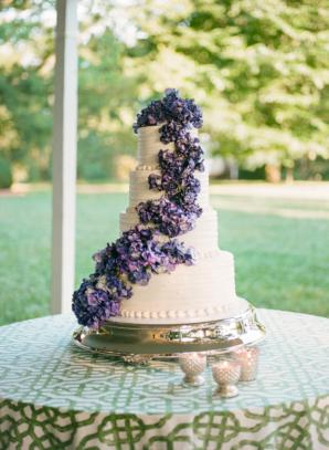 Wedding Cake with Purple Hydrangeas