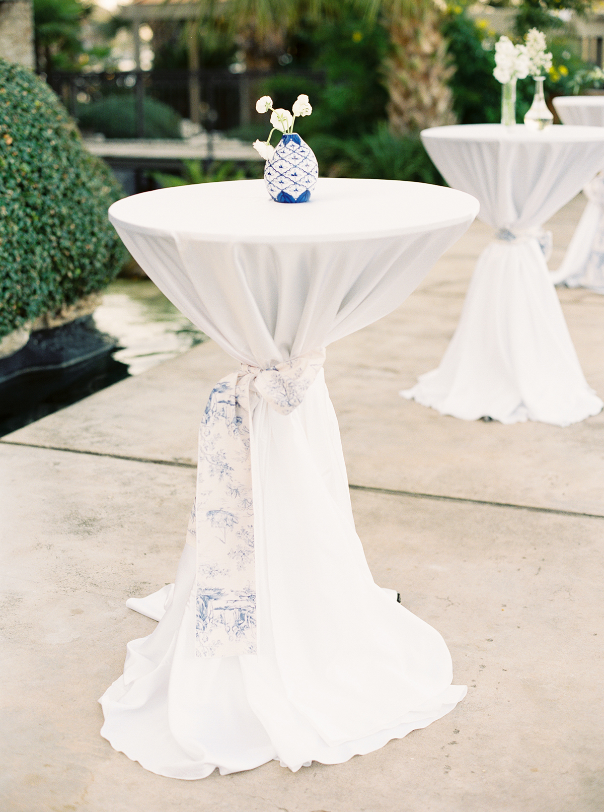 Wedding Cocktail Tables With Toile Linens