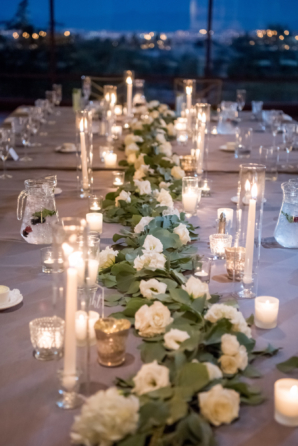 Wedding Reception with Greenery and Candlelight