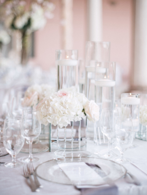 White and Glass Modern Centerpiece