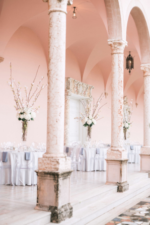 White and Lavender Wedding Reception