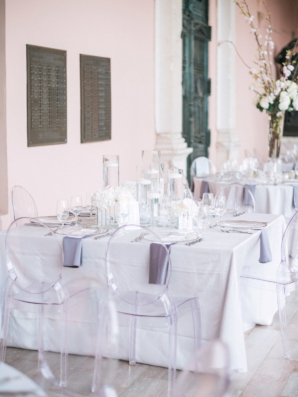 White and Lavender Wedding Table