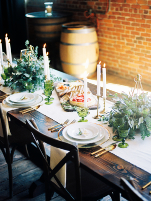 Wood Wedding Table in Winery