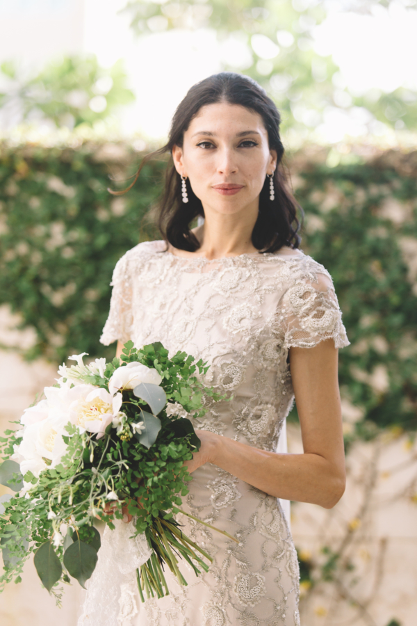 Bride in Beaded Anna Maier Gown