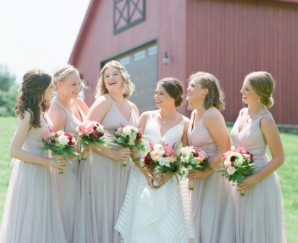 Bridesmaids in Taupe Dresses