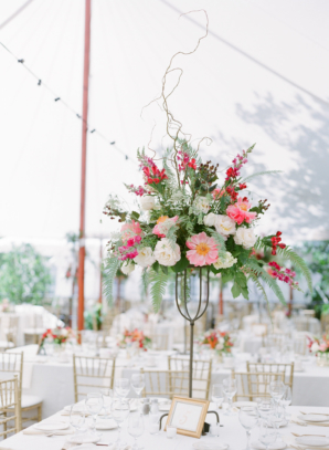 Coral and Gold Wedding Centerpiece