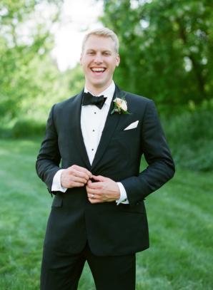 Groom in Classic Tuxedo with Bow Tie