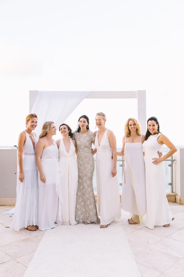 Mix and Match White Bridesmaid Dresses