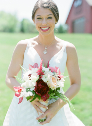 Pink Red and White Bride Bouquet