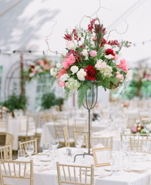 Tall Red Pink and White Centerpiece