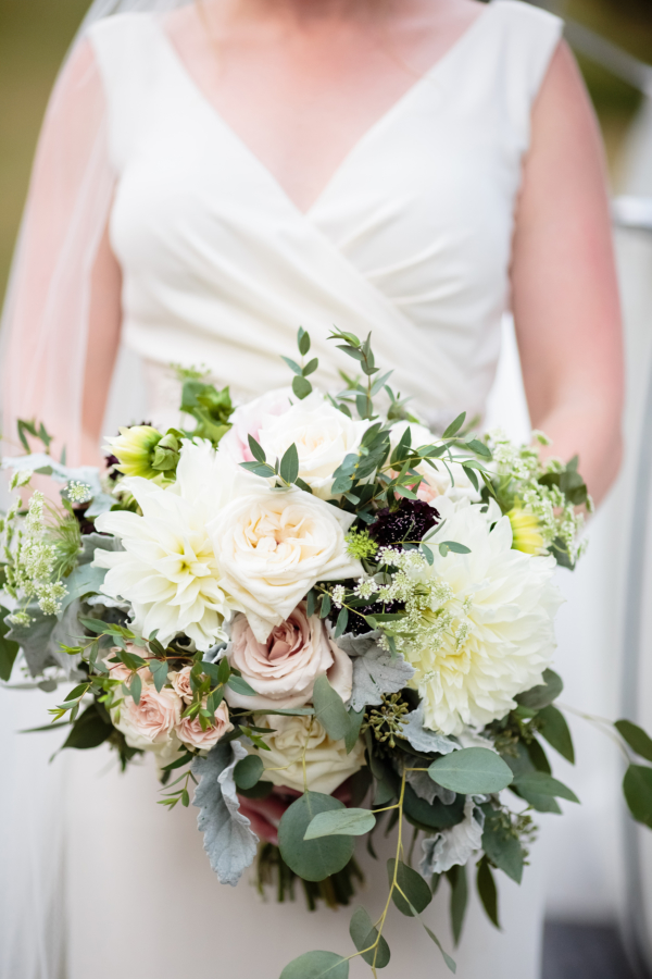 Bride Bouquet with Dahlias and Garden Rose