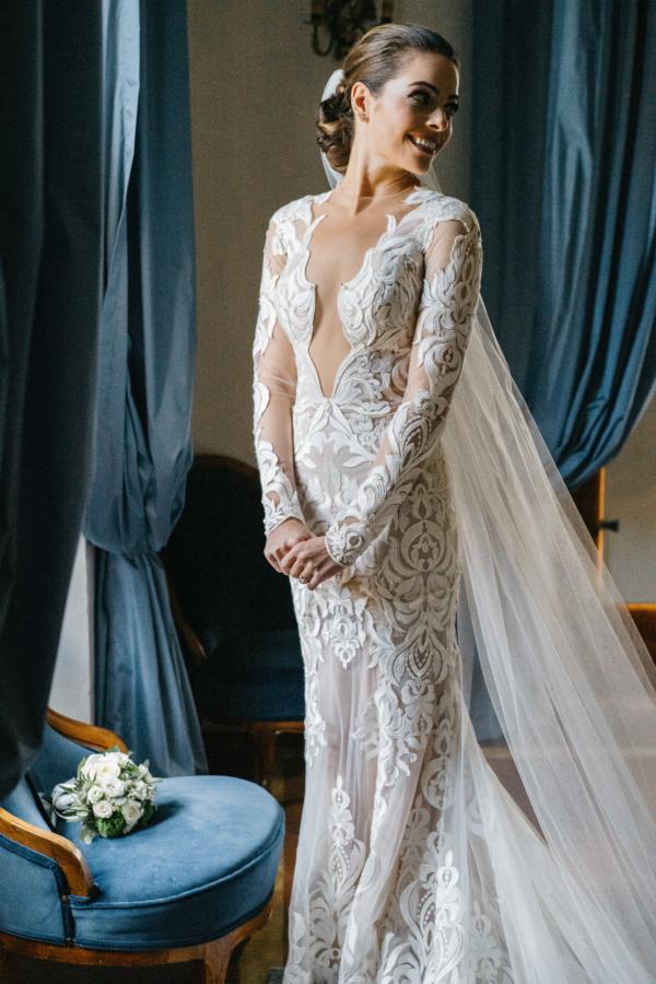 Bride in Berta Wedding Dress