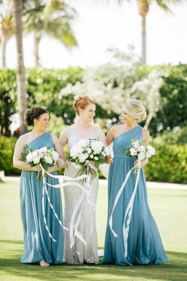 Bridesmaids in Cornflower Blue Dresses