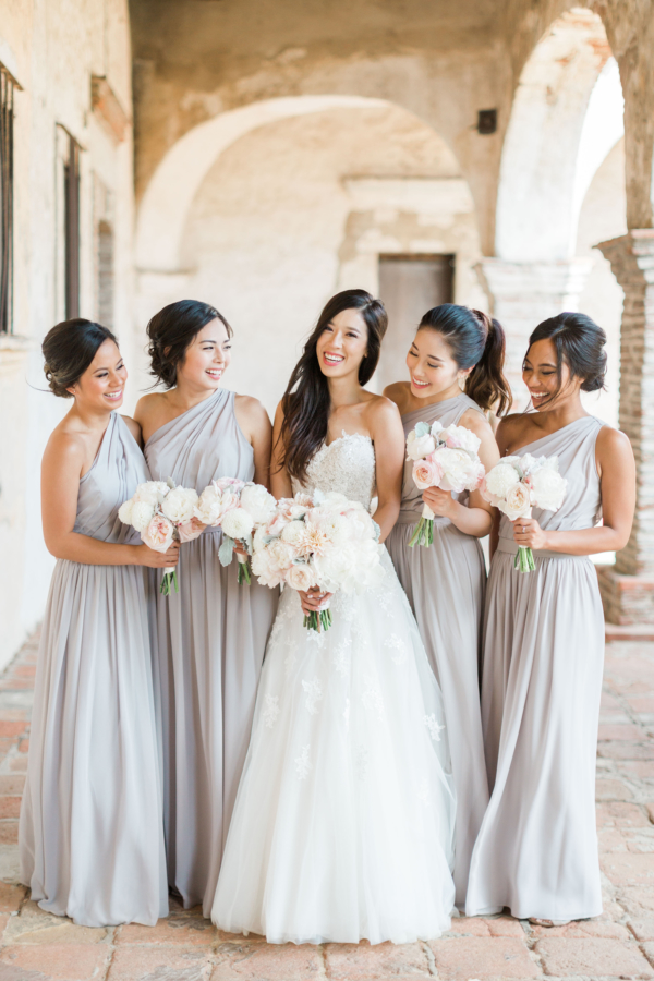 Bridesmaids in Pale Gray Dresses