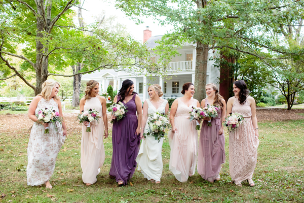 Bridesmaids in Pink and Purple