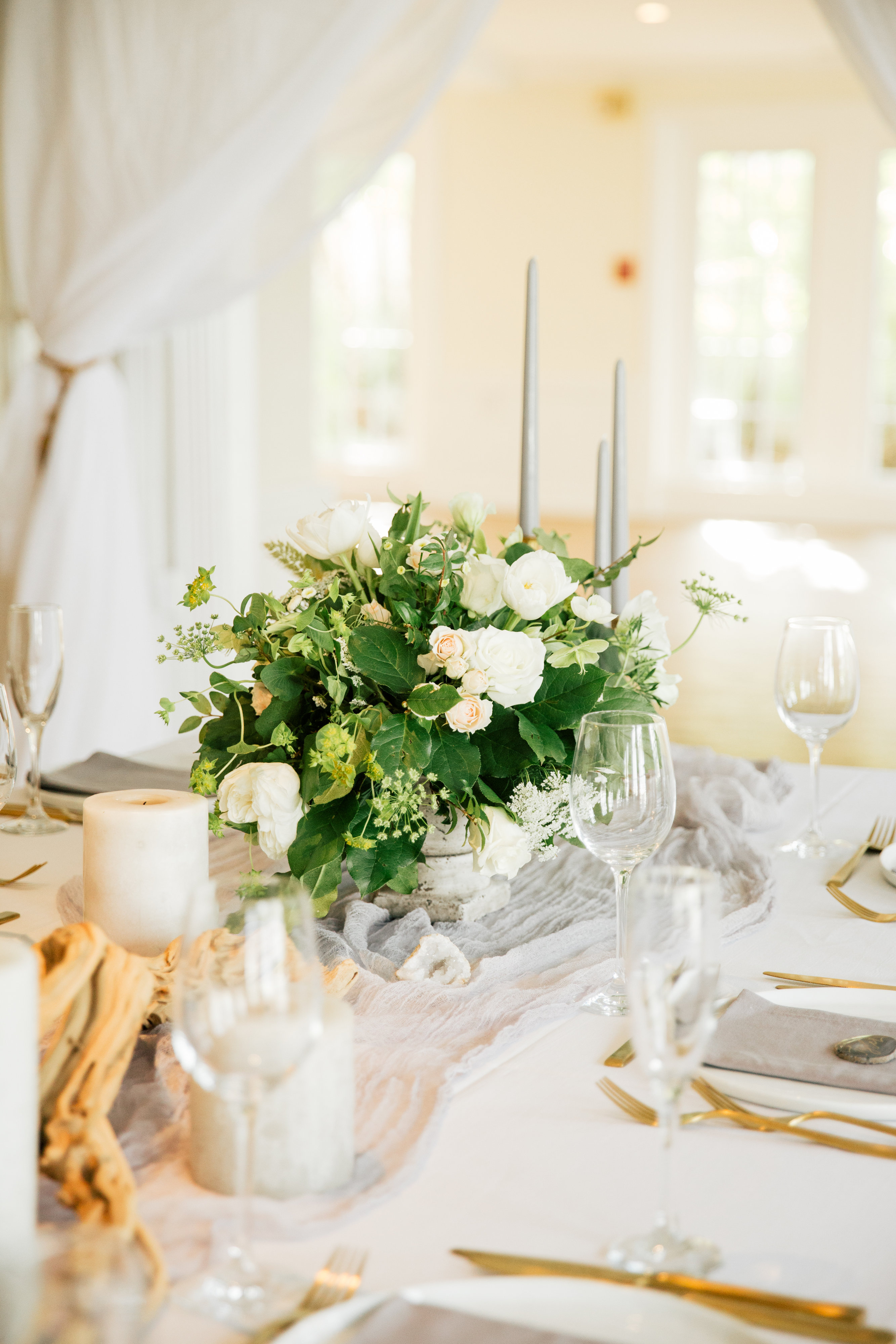 Dove Gray and Cream Wedding Centerpiece - Elizabeth Anne Designs ...