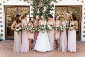 Mix and Match Pink Bridesmaids Dresses