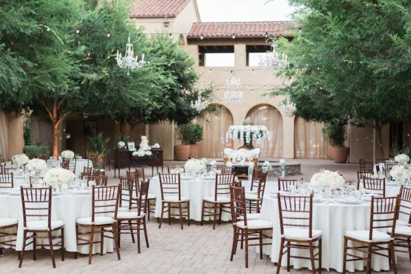 Outdoor California Wedding under Chandeliers