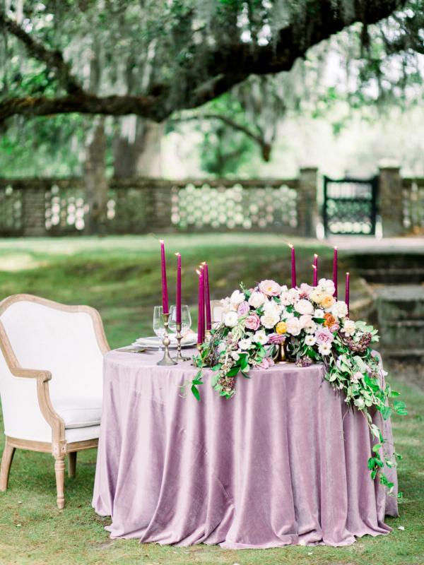 Purple Velvet Wedding Table