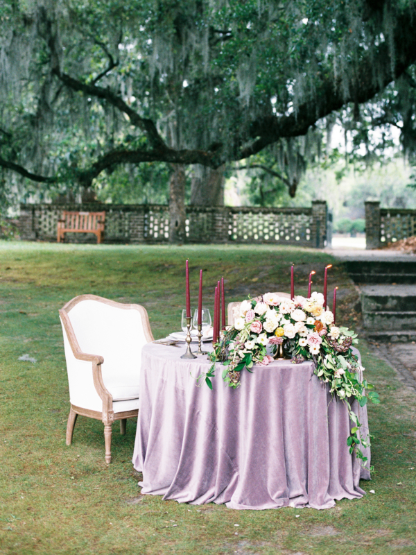 Purple and Lavender Sweetheart Table