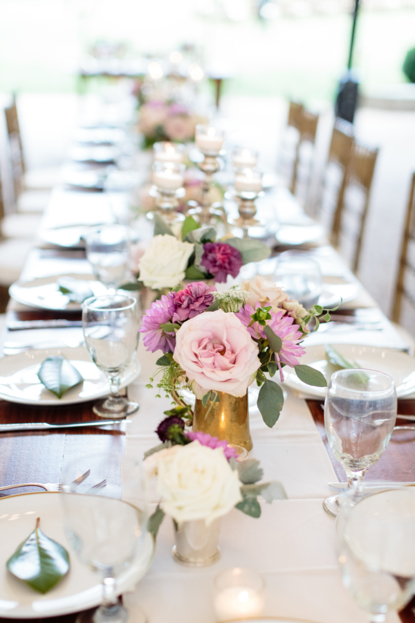 Purple and Lilac Wedding Centerpiece