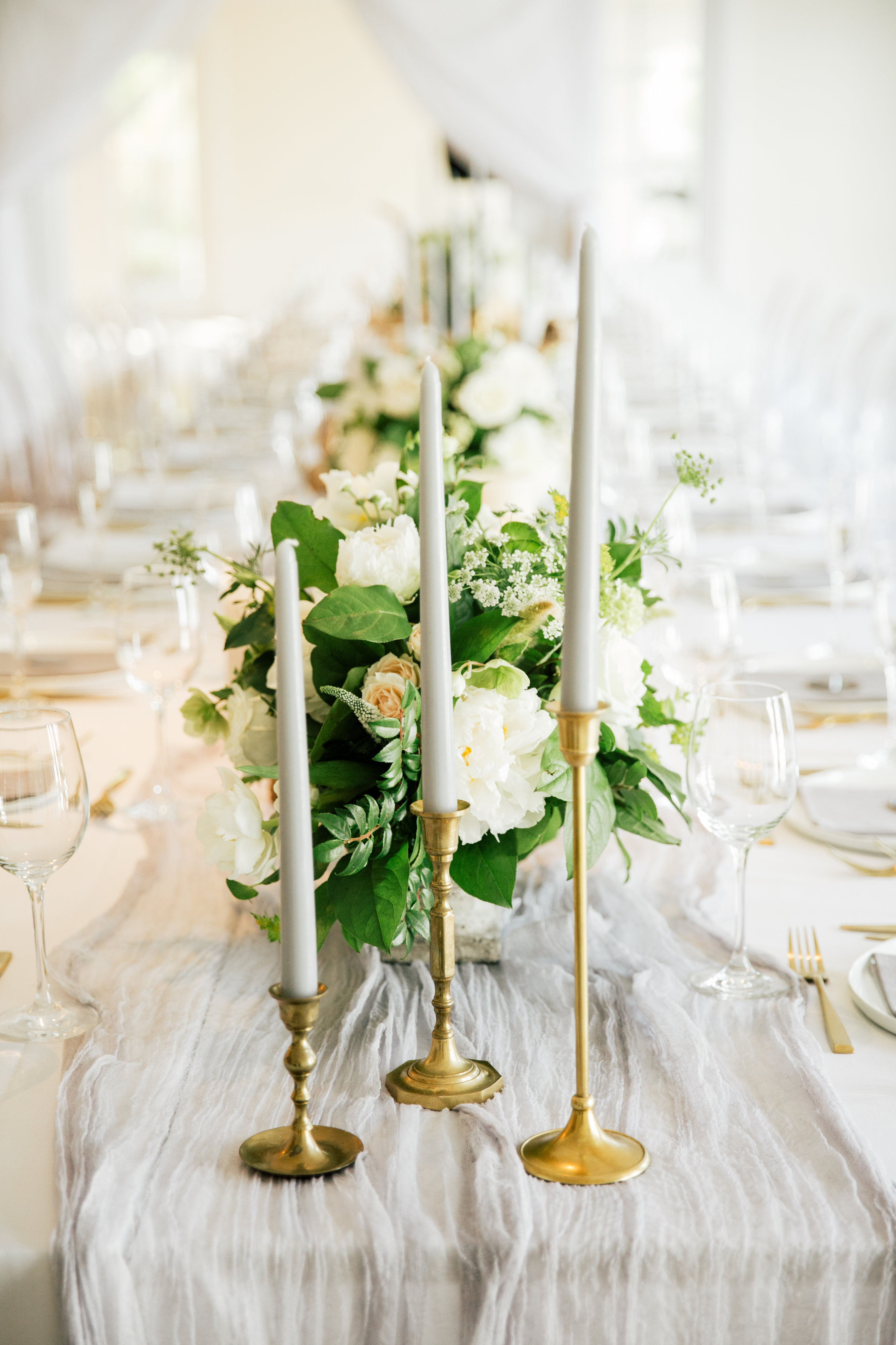 Silk and Taper Candle Wedding Table