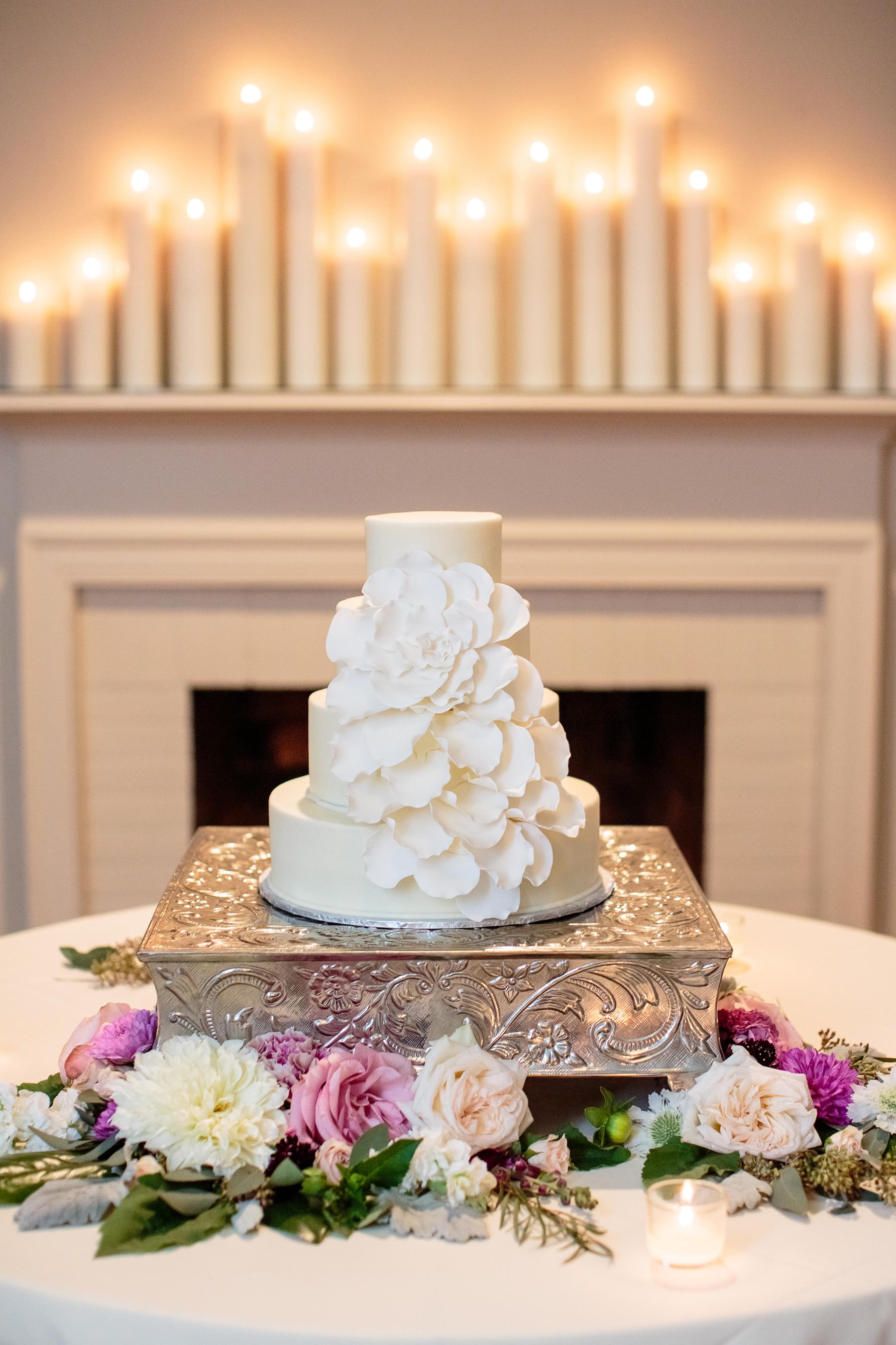 Wedding Cake with Large Sugar Petals
