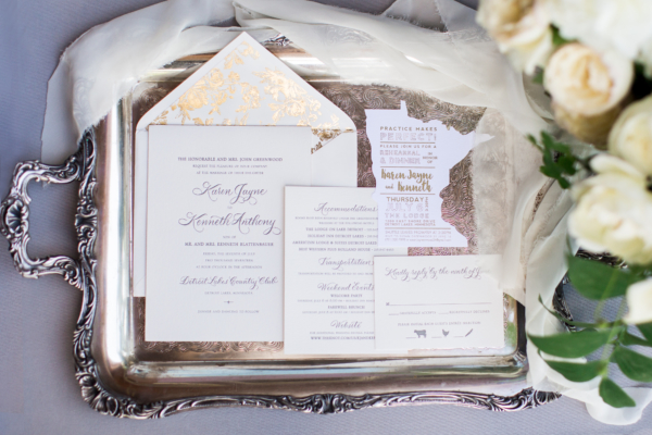 Wedding Invitations in Gray and Gold