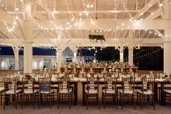 Wedding Reception Under String Lights And Wooden Canopy Elizabeth