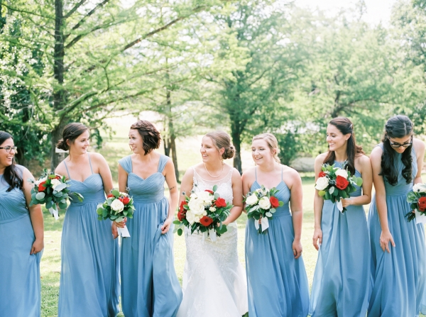 Bridesmaids in Blue Chiffon