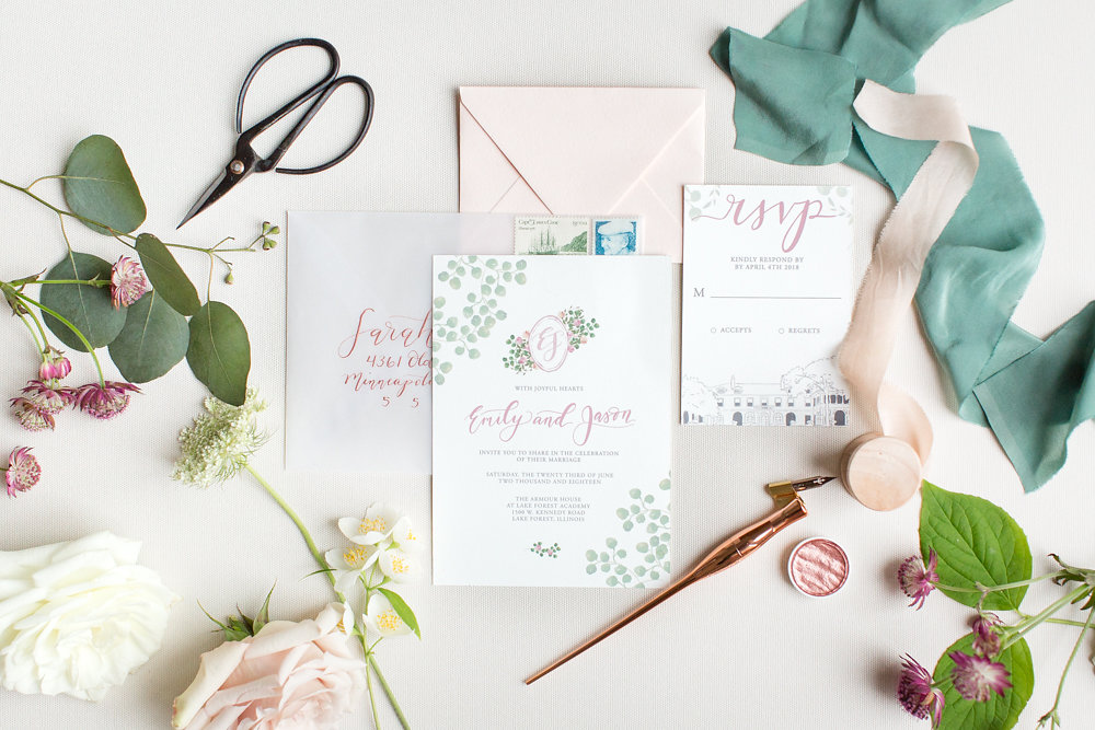 Invitation Suite in Rose Gold and Green