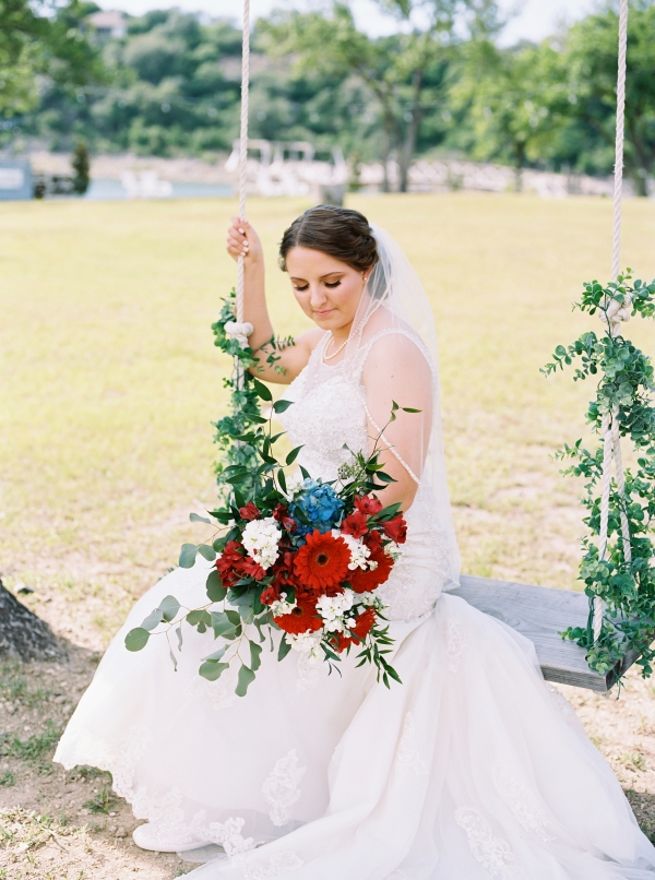 Red White and Blue Bride Bouquet