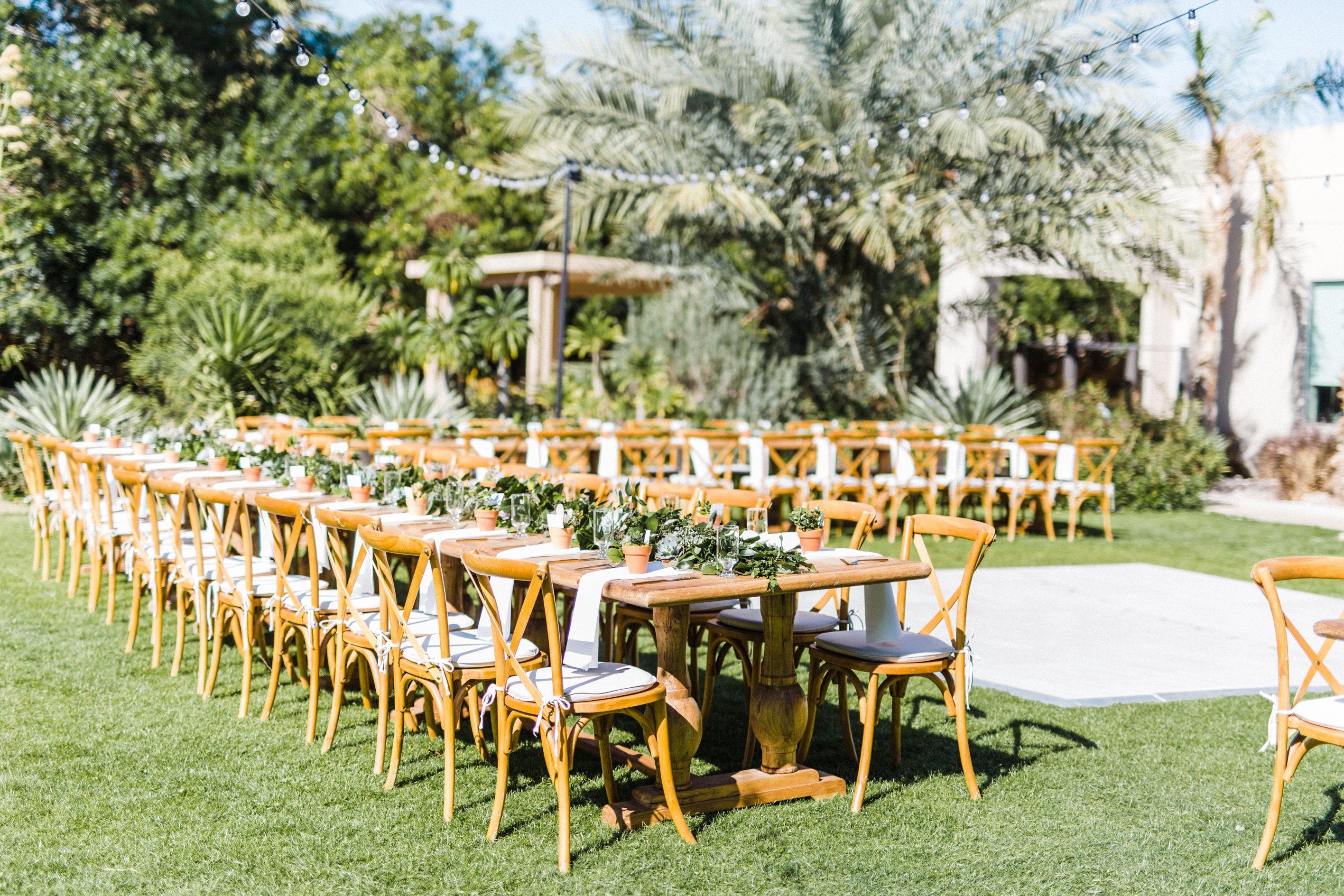 Wedding Reception with Wood Tables
