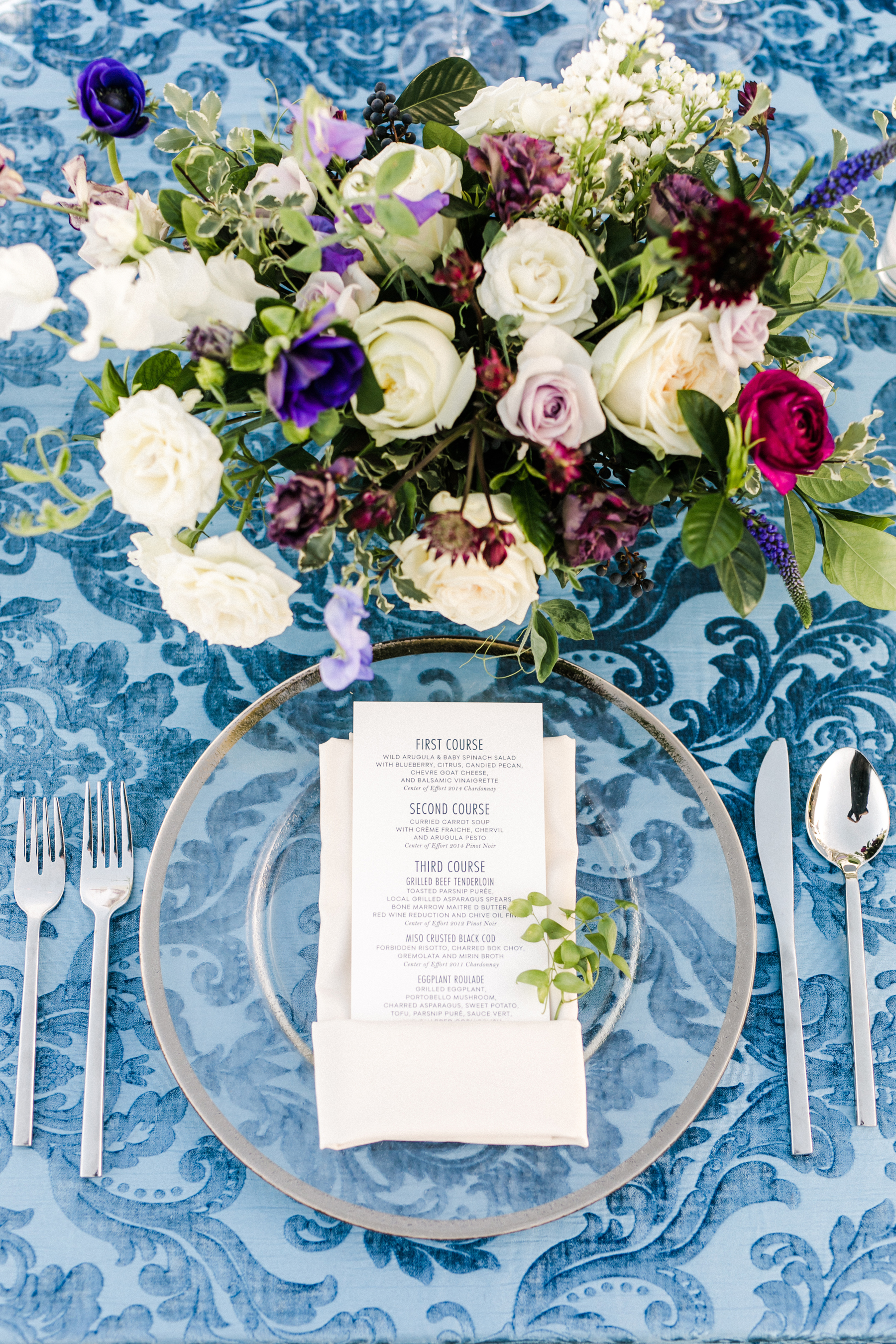 Blue and Purple Wedding Table
